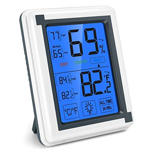 Brifit Digitales Thermo-Hygrometer, Thermometer Hygrometer Innen, Raumluftüberwachtung Temperatur und Luftfeuchtigkeitmessgerät mit Hintergrundbeleuchtung, Min/Max Aufzeichnungen