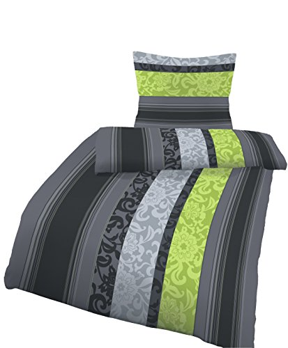 Soma Biber Bettwäsche 4 teilig Bettbezug 155 x 220 cm Kopfkissenbezug 80 x 80 cm Blume Barock grün