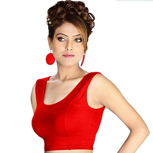 Abhi Women's Cotton Sleeveless Blouse(Red_L)