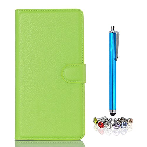 A9H Doogee NOVA Y100X Hülle,PU Leder Wallet Case Folie Bookstyle Tasche Flip Cover Schutzhülle Lederhülle -green