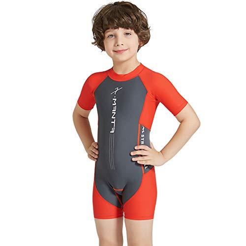 Makalon Kinder Jungs Mädchen Unisex Sommer UV-Schutz Tauchanzug Kinder Einteiler Schwimmanzug Lange Ärmel Badeanzug Reißverschluss Neoprenanzug Short Sonnenschutz Wassersport Surfanzug -