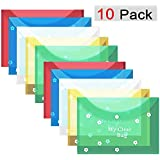 GreatDio® A4 Document File Bag, Transparent Envelope Holder Storage Case, Snap Button Organizer, Clear Flower Plastic Container for Papers, Stationery - 10 Pack