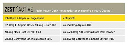VERGLEICHSSIEGER 2019 bei ARGININ.DE: L-Arginin Base plus Citrullin (entspr. 2.400mg Arginin HCL) plus Maca Extrakt 680mg (entspr. 34.gr Maca Pulver) HOCHDOSIERT & Cordyceps sinensis – zest'active - 5