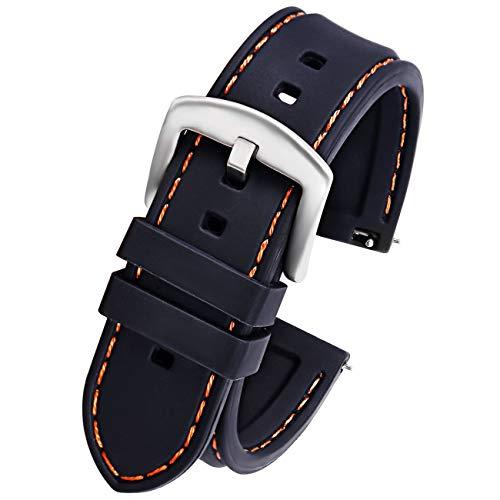 Pbcode 20mm Uhrenarmband Silikon Sport Schwarz Gummi-Armband für SmartWatch Bands Samsung Gear 2 Classic/Ticwatch 2/Moto 360 für Männer 2.Gen 42mm-S Orange Nähte Silberne Schnalle