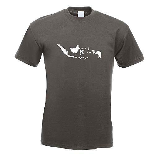 Kiwistar Indonesien Umriss Kontur T-Shirt in 15 Verschiedenen Farben - Herren Funshirt Bedruckt Design Sprüche Spruch Motive Oberteil Baumwolle Print Größe S M L XL XXL -