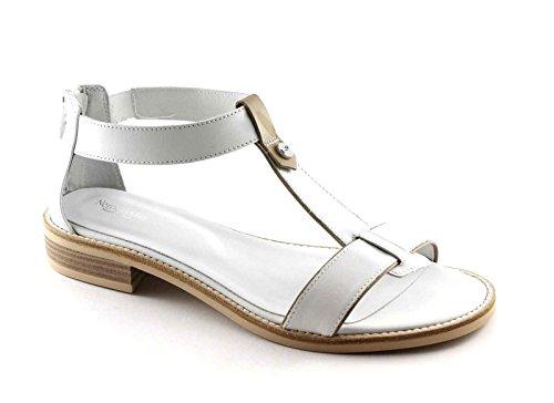 BLACK JARDINS 17731 zip femmes sandales en cuir blanc chaussures Bianco