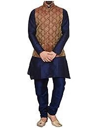 ZORAVO Men NAVY BLUE Kurta & Matching Chudidar with Maroon Jacket Waistcoat