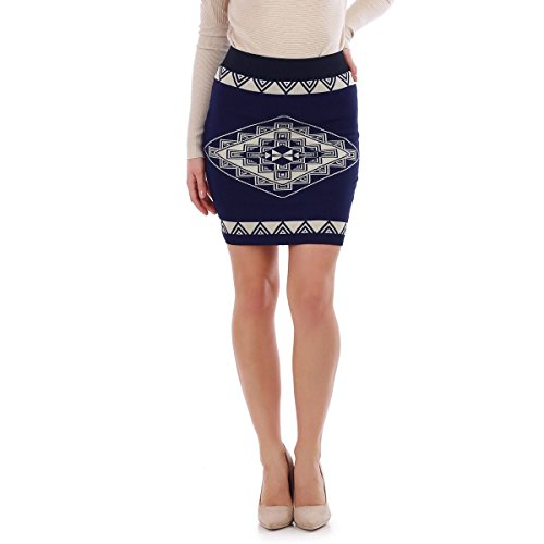 La Modeuse - Jupe courte côtelée aux motifs géométriques Bleu