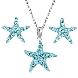 Kristall Seestern Ohrstecker + Anhänger + Kette 925 Echt Silber Kinder Mädchen Halskette