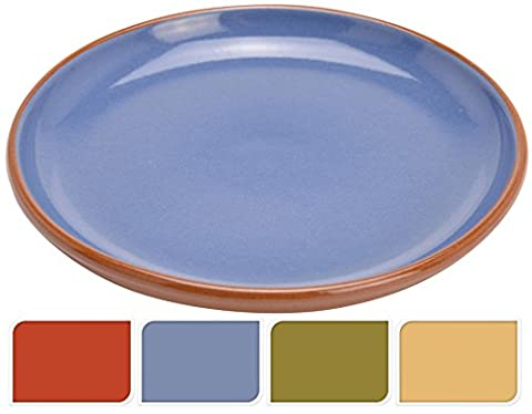 Glazed Terracotta 16.5cm Round Oven Safe Side Snack Tapas Serving Plate Dish from Valencia (Green)