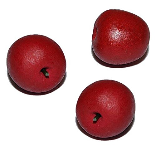 3 Stk. Miniatur Obst Apfel aus Holz - für Puppenstube Maßstab 1:12 - Äpfel Puppenhaus Puppenküche Küche Früchte
