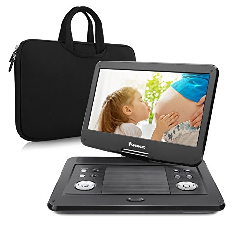 Tragbarer DVD Player Portable Spieler mit 14 Zoll Monitor für Mama Kind Eltern Gerät mit HD Display Bildschirm unterstützt USB SD für Flug Urlaub Camping Zuhause Schwarz