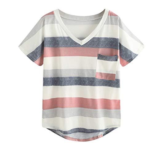 UJUNAOR Damen Kurzarm-Shirt Oberteile Streifen Patchwork Farbblock Streifen Bluse Frühling Sommer T Shirt Frauen Casual Locker Beiläufig Tanktops