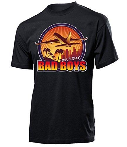 Bad Boys on Tour 4645 Jungesellenabschied Feier Ideen JGA Hochzeit Heiraten Outfit Hemd Herren Shirt Kostüm für Männer Geschenk Tshirt Schwarz S