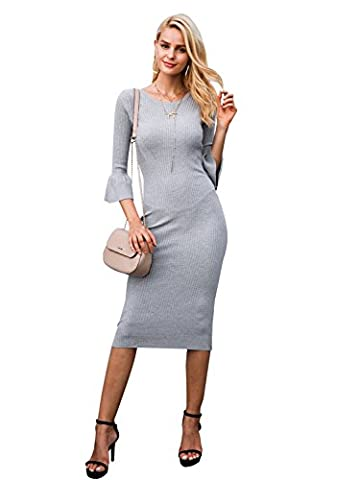 Simpplee Apparel Damen Midi Kleid Elegant Langarm Bodycon Lang Strickkleid Casual Sweater Kleid Grau