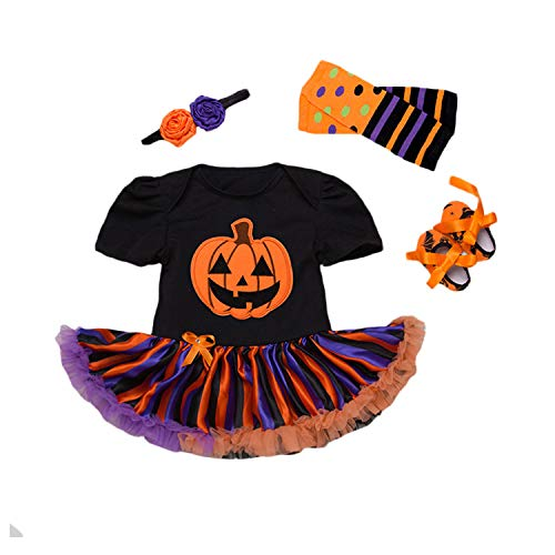BabyPreg Halloween Cosplay Kostüme Baby Mädchen Schädel Brechen Kürbis Kleid 4 Stück (M / 6-9 Monate, Kürbis Schwarz)