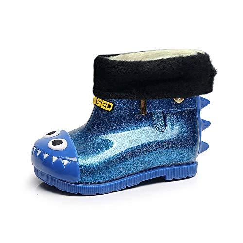 Kids Rain Boots Scarpe da Pioggia per Bambini Unisex Stivali Bambino e Bambina in Gomma, più Velluto per Stare al Caldo