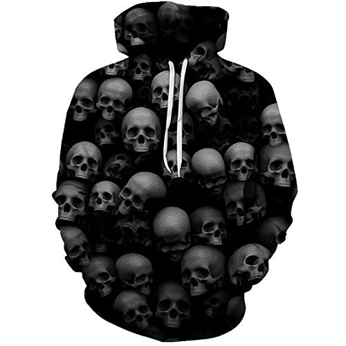 QSBY Skull 3D Prints Pullover Winter Hoodies Jumpers Breathable Slim Fit Patterned Sweatshirts with Pockets for Mens Couple Hoodies Unisex Look,Black,S Black Skull Sweatshirt