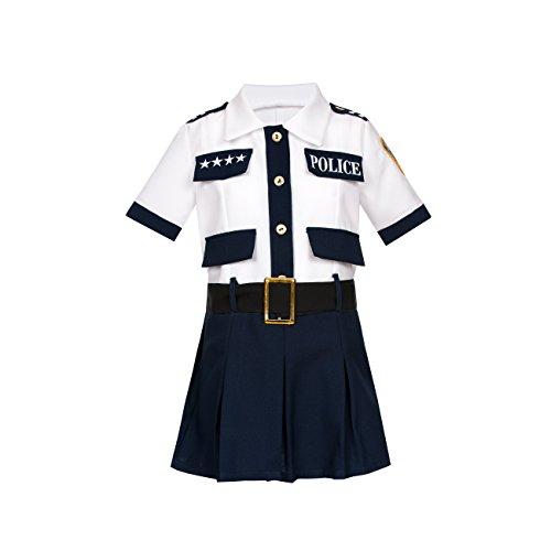 stin-Kostüm Mädchen Kinder Polizei-Kostüm mit Polizei Mütze Uniform blau weiß Größe 128 (Polizei-mädchen-kostüm)