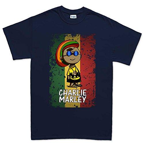 Charlie Marley - Funny Jamaica Reggae Rasta Mens T Shirt (Tee) XL Navy Blue (Jamaica Mens Tee)