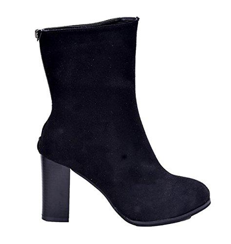 LINYI Stivali Con Tacco Da Donna Stivali Con Punta A Punta Elasticity Faux Fur Short Boots Black