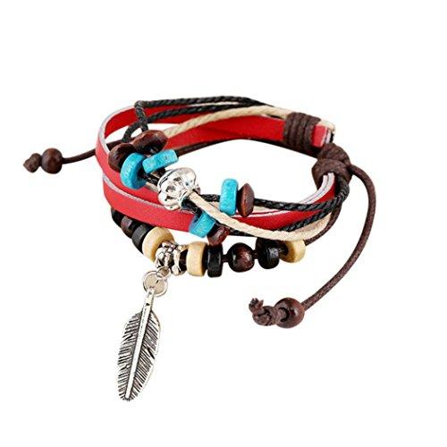Junge Kostüm Indische - Sunnywill Neuen indischen Stil Holzperle Handgelenk Armband Leder Feder Schmuck für Mädchen Frauen Damen (Red)