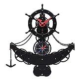WYZQ Horloge Murale Pendule De Style Européen Montre De Gouvernail Style Européen Horloge Navire Et Gouvernail Salon Pendule Pendule Horloge Murale Européenne Horloge De Bateau Pirate Noir