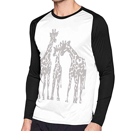 Herren Langarm Classic T-Shirt, Men's Casual Giraffe Long Reglan Jersey Baseball T-Shirt -