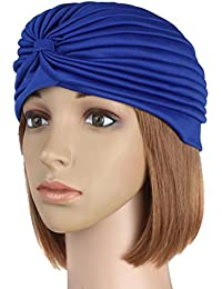 bandana Ladies Turban Band Hat Cap Hijab Headwear Wrap Hair Loss Chemo Headwrap Blue color