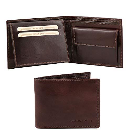 Tuscany Leather Esclusivo portafoglio uomo in pelle 3 ante con portaspiccioli Testa di Moro