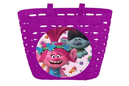 Trolls niña–Cesta para bicicleta, color rosa, One size