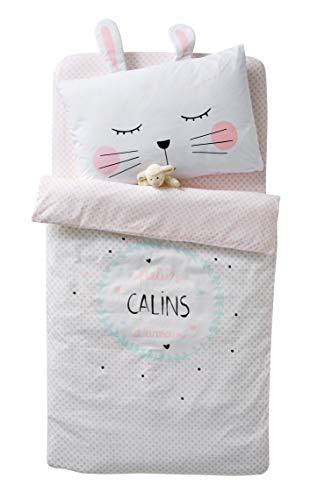 Vertbaudet Housse de Couette bébé CALINS d'amour Blanc 80X120