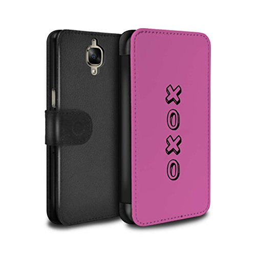 STUFF4 PU Pelle Custodia/Cover/Caso/Portafoglio per OnePlus 3 / Rosa/Abbracci e Baci / Cuore XOXO disegno