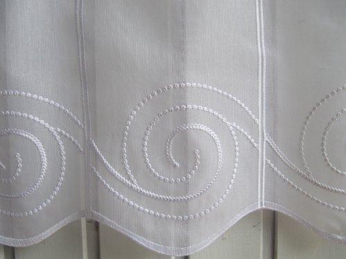 Scheibengardine Weiß Ornamente Stick 45 oder 60 cm Höhe, Höhe:45