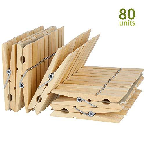 40 Unidades, Madera, 7,2 cm de Largo, 1,8 cm de Ancho, Resistentes y Resistentes EasyBravo Pinzas para Ropa