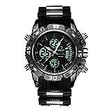 Relojes Hombres Negros Reloj de Digital Impermeable Deportes Militar Análogo Hombres Relojes de Pulsera Cronógrafo Multifunción Alarma Día Fecha LED Moda para Hombres