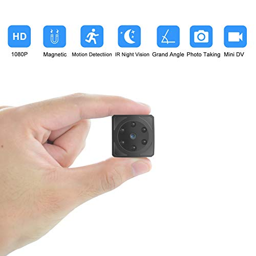 SNUNGPHIR Mini Microcamere Spia Nascosta, HD 1080P Telecamera Wireless Rilevamento di Movimento Portatile Videocamera di Sorveglianza Video Registrazione in Loop, IR Visione Notturna, (No Wi-Fi)