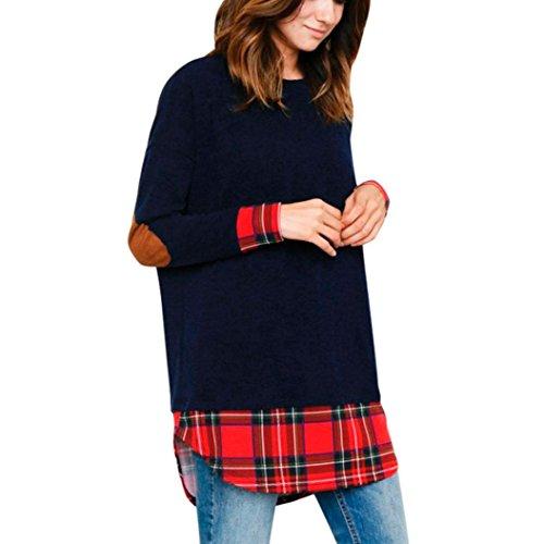 Bekleidung,DOLDOA Frauen Oberteil O-Ausschnitt Langarm Plaid Spleißen Pullover Tops Bluse (EU: 40, Blau,Plaid Spleißen Pullover) (Aqua-faltenrock)