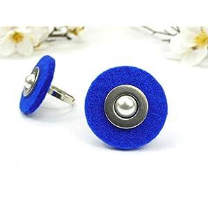 Filzring blau mit Edelstahlscheibe und Wachsperle größenverstellbar Geschenk