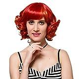 HongHu Femmes Courtes Ondulées Bouclés Bob Perruque Anime Cosplay Perruques De Fête de Cheveux Complets pour La Fête Cosplay ou Perruque À Usage Quotidien Pour Sweet Girls Rouge