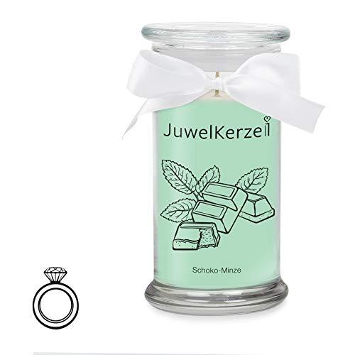 Minze Duftkerze (JuwelKerze Schoko Minze - Kerze im Glas mit Schmuck - Große minzgrüne Duftkerze mit Überraschung als Geschenk für Sie (Silber Ring, Brenndauer : 90-125 Stunden))