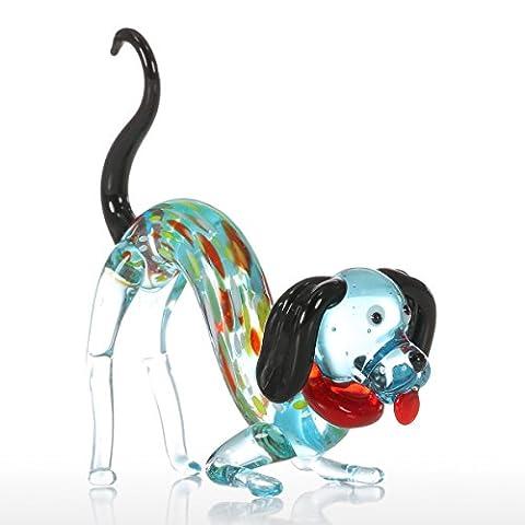Tooarts Coloré Chien Cadeau Ornat de Verre Animal Figurine Soufflé