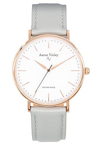 AARON VINLEY Bergen weiß Rosegold 40mm Bauhaus Stil Armbanduhr analog minimalistisch Lederarmband Schnellwechselarmband Saphirglas Herren Damen