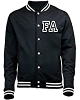 PERSONALISED COLLEGE JACKET WITH FRONT INITIAL PRINT (BLACK) NEW PREMIUM TOP Unisex American Style Letterman Varsity Baseball Custom Gift Present Quality AWD - by 123t