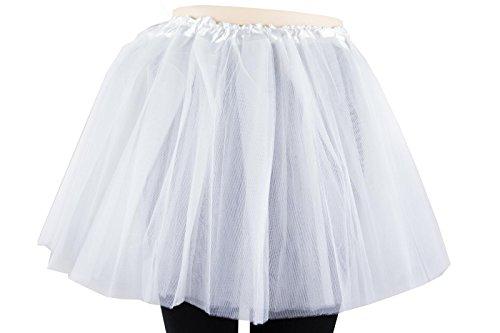 nirock Petticoat Tanzkleid Ballettrock Pettiskirt Unterrock in verschiedenen Farben (Weiß) (Karneval Tutu)