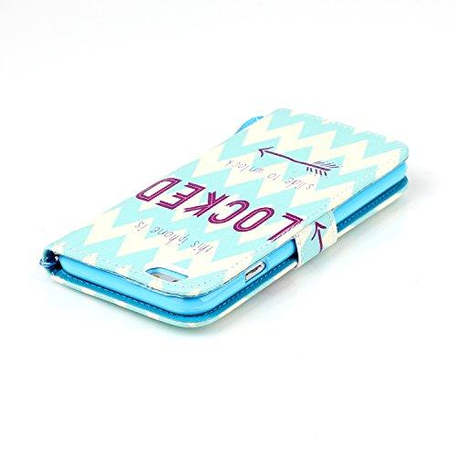 Ooboom® iPhone 6/6S Plus Hülle Flip PU Leder Schutzhülle Handy Tasche Case Cover Wallet Standfunktion mit Kartenfächer Trageschlaufe - Weltkarte Locked