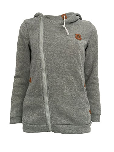 HUA&X Donna felpe montare Hoodie Maglie a maniche lunghe Cardigan cappotto sportivo Light Gray