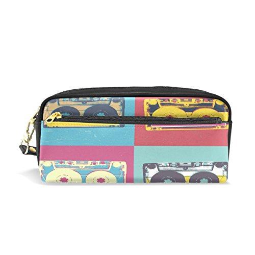 Pop-hintergrund (coosun Audio Kassette Retro Pop Art Music Hintergrund Tragbarer Schutzhülle Federmäppchen School Pen Taschen Stationäre (PU Leder großes Fassungsvermögen Make-up Kosmetiktasche)