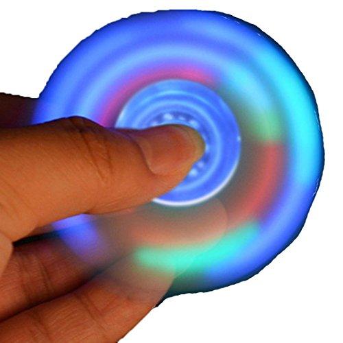Spinner di fidget,Sainagce LED incandescente Fidget Spinner Triangolo Singolo Dita di Decompressione Gyro Mano Spinner Finger Gyro (blue)