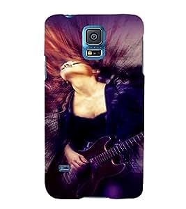 PrintVisa Music Girl Art 3D Hard Polycarbonate Designer Back Case Cover for Samsung Galaxy S5